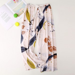 Floral Printed Loose Wear String Waist Casual Trouser Pants - Cream White