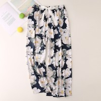 Floral Printed Loose Wear String Waist Casual Trouser Pants - White
