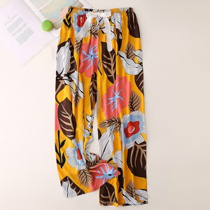 Floral Printed Loose Wear String Waist Casual Trouser Pants - Red Yellow