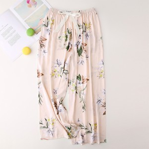 Floral Printed Loose Wear String Waist Casual Trouser Pants - Apricot
