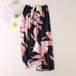 Floral Printed Loose Wear String Waist Casual Trouser Pants - Pink