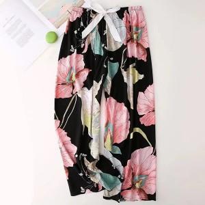 Floral Printed Loose Wear String Waist Casual Trouser Pants - Black Pink