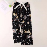 Floral Printed Loose Wear String Waist Casual Trouser Pants - Black Multicolor