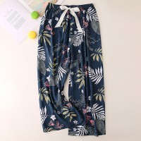 Floral Printed Loose Wear String Waist Casual Trouser Pants - Dark Blue