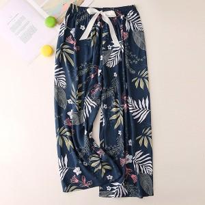 Floral Printed Loose Wear String Waist Casual Trouser Pants - Dark Blue
