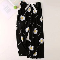 Floral Printed Loose Wear String Waist Casual Trouser Pants - Black
