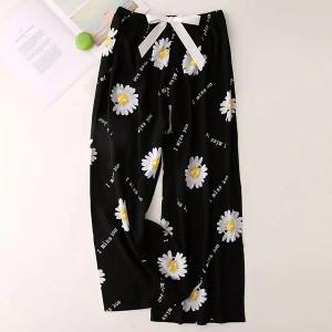 Floral Printed Loose Wear String Waist Casual Trouser Pants - Black