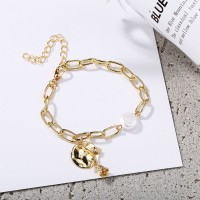 Fashion Metal Rose With Pearl Women Bracelet - Golden