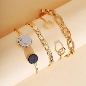 Girls Retro Metal Chain Bracelet Set 4 Pieces - Golden