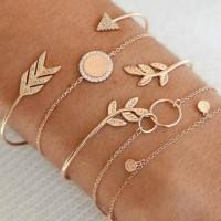 Girls Rhinestone Metal Chain Bracelet Set 5 Pieces - Golden