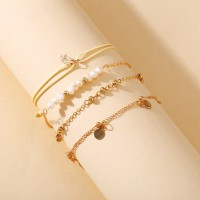Girls Metal Heart And Pearl Bracelet Set 4 Pieces - Golden