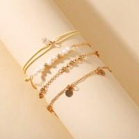 Girls Metal Heart And Pearl Bracelet Set 4 Pieces - Golden