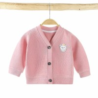 Button Full Sleeves Kids Outwear Jacket - Pink