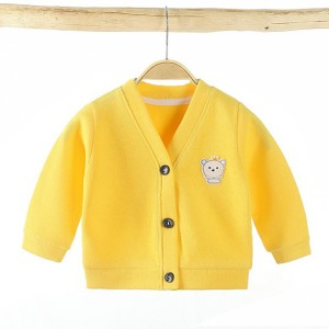 Button Full Sleeves Kids Outwear Jacket - Yellow