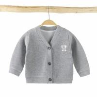 Button Full Sleeves Kids Outwear Jacket - Gray
