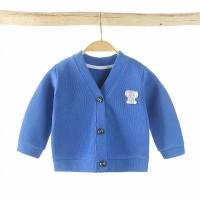 Button Full Sleeves Kids Outwear Jacket - Dark Blue