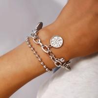 Girl Metal Chain Double Layer Bracelet - Silver