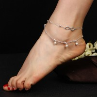 Elegant Pearl Chain Double Layer Girls Anklet - Silver
