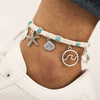 Starfish Shell Pendant With Turquoise Cord Braided Anklet - Multi Color