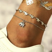 Elephant Decoration Ladies Wild Metal Anklet - Silver