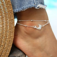 Dolphin Decorated Double Chain Metal Anklet - Silver