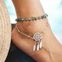 Dream Catcher Irregular Turquoise Beach Anklet - Silver