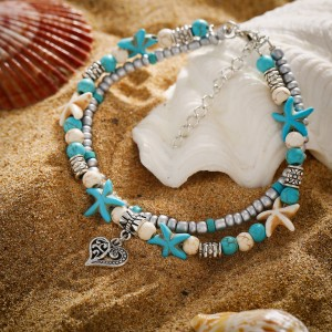 Heart Decoration Pendant Turquoise Beach Anklet - Multi Color