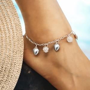 Heart Chain Fashion Wild Girls Anklet - Silver