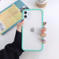 Safe Frame Thin TPU Translucent Matte Back Cover For iPhone Mobile Phones - Lake Green