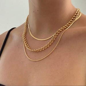 Ladies Metal Chain 3 Layer Simple Alloy Necklace - Golden