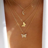 Girls Fashion Rhinestone Butterfly Pendant Multilayer Necklace - Golden