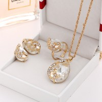 Water Drop Peacock Shaped Crystal Necklace Set 4 Pieces - Transparent