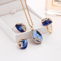 Water Drop Peacock Shaped Crystal Necklace Set 4 Pieces - Blue