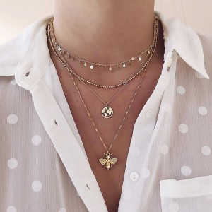 Girls Bee Shaped Multi Layer Necklace - Golden