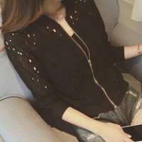 Hollow Zipper Closure Fancy Wear Women Fashion Jacket - Black