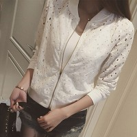 Hollow Zipper Closure Fancy Wear Women Fashion Jacket - White