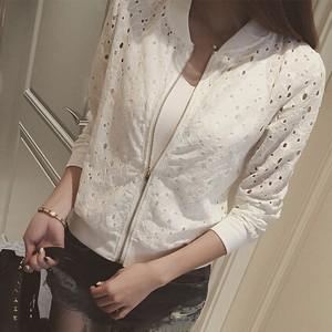 Hollow Zipper Closure Fancy Wear Women Fashion Jacket - White