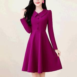 Doll Neck Full Sleeved Elegant Wear Dress - Purple