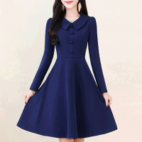 Doll Neck Full Sleeved Elegant Wear Dress - Blue