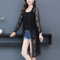 See Through Floral Textured Lace Outwear Cardigan - Black