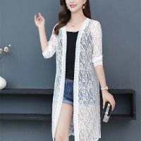 See Through Floral Textured Lace Outwear Cardigan - White