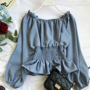 Frilled Waist Long Sleeved Women Fashion Blouse Top - Blue