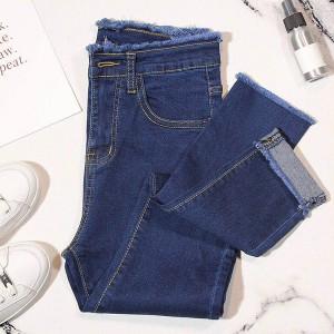 Button Up Ripped Tassel Narrow Bottom Denim Jeans Pant - Blue