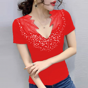 Sequins Decorative Leaves Neck Elegant Party Wear Tops - Red