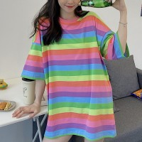 Striped Printed Colorful Variation Loose Wear Tops - Pink