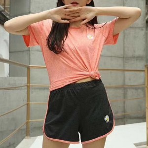 Short Sleeved Round Neck Sports Wear Two Pieces Suit - Orange