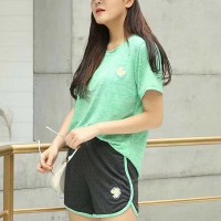 Short Sleeved Round Neck Sports Wear Two Pieces Suit - Green