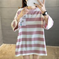 Round Neck Printed Striped Loose Wear Blouse Top - Pink