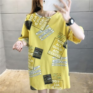 Round Neck Printed Alphabetic Loose Wear Blouse Top - Yellow