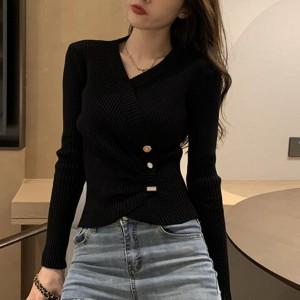 V Neck Side Fold Full Sleeves Body Fitted Top - Black